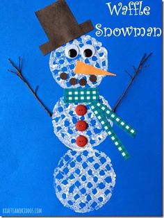 Waffle Snowman Craft for Kids