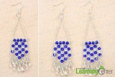 finish making blue crystal earrings