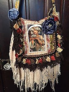 Bohemian gypsy bag purse art nouveau Mucha poster romantic Victorian festival