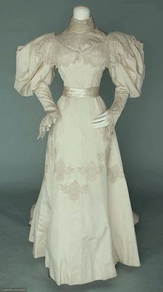 """WHITE SILK & LACE WEDDING GOWN, 1895 @morganwhitfield i found your wedding dress""""!! go me!"""