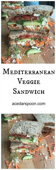 Mediterranean Veggie Sandwich is loaded with hummus and feta cheese, fresh vegetables and topped with sprouts. You won't miss the meat with this sandwich. // A Cedar Spoon
