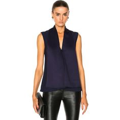 Victoria Beckham Satin Back Crepe Sleeveless Blouse (1,230 CAD) ❤ liked on Polyvore featuring tops, blouses, fashion tops, draped blouses, sleeveless blouse, blue blouse, blue satin blouse and blue sleeveless top