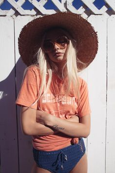 Beach ready with our sun hat, sunnies, bikini & throw over vintage tee
