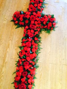 Cross in red for a funeral