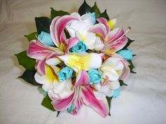 PINK LILY, WHITE FRANGIPANI & BLUE ROSE BRIDESMAID BOUQUET | Flickr - Photo Sharing!