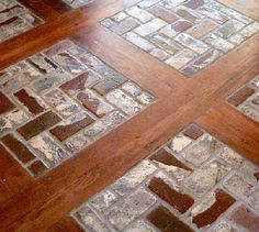 combination wood and tile floors | floors done with wood inlays when doing a portstone floor with a wood ...