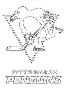 Find More Coloring Pages Online For Kids And Adults Of Pittsburgh Penguins Logo Nhl Hockey Sport