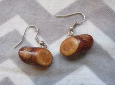 My Log Saw Something Earrings. Made with real wood mini logs. Cute Earrings, Drop Earrings, Log Saw, David Lynch, Twin Peaks, Real Wood, Sentences, Ears, My Etsy Shop