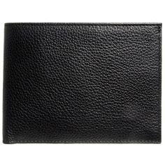 Pebbled Calf Leather Billfold Wallet Black
