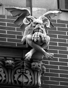 Gargoyles are water spouts carrying water from the roof but Grotesques are the ones that don't spout water. (grotesques and gargoyles Art Goth, Gothic Art, Statues, Gothic Gargoyles, Arte Horror, Angels And Demons, Gothic Architecture, Green Man, Mythical Creatures