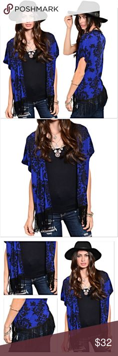 """Stunning Fringe Short Sleeve Cardigan SML Give your wardrobe an instant update with this stunning royal blue & black floral print short sleeve cardigan featuring a fringe hem. Lightweight 97% Polyester/3% spandex. Easy breezy relaxed fit.   Small Bust 44"""" Length 28"""" Medium Bust 45"""" Length 28.5"""" Large Bust 46"""" Length 29"""" Sweaters Cardigans"""