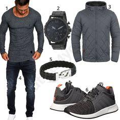 Graues Männeroutfit mit Amaci&Sons Herren-Longsleeve, Fossil Armbanduhr, Merish Jeans, Tommy Hilfiger Lederarmband, Adidas Sneakern und Blend Übergangsjacke für Herren. #amacisons #adidas #tommyhilfiger #fossil #outfit #style #herrenmode #männermode #fashion #menswear #herren #männer #mode #menstyle #mensfashion #menswear #inspiration #cloth #ootd #herrenoutfit #männeroutfit