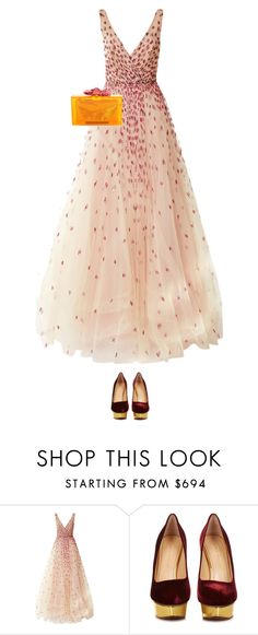 """4.130"" by katrina-yeow ❤ liked on Polyvore featuring Monique Lhuillier and Charlotte Olympia"