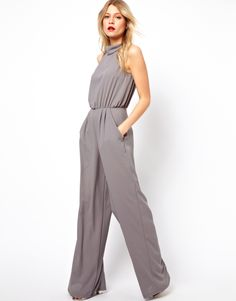 Love Jumpsuit With Polo Neck at ASOS in dove gray