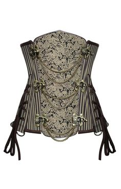 Steampunk brocade underbust steelboned corset with two sets of front clasps