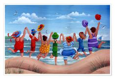 Beach party rainbow scene at Posterlounge ✔ Affordable shipping ✔ Secure payment ✔ Various materials & sizes ✔ Buy your print now! Art Plage, Inspirational Wall Art, Creative Activities, Beach Scenes, Paint By Number, Whimsical Art, Beach Art, Pictures To Paint, Illustrations