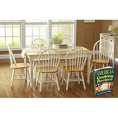 ICYMI: 7 Piece Wooden Dinette Table with 6 Dining Chairs Country Farm White Natural Set