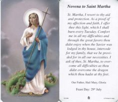 Prayer: to St Martha Saint Martha, pray for us that we might serve Jesus better. Help us to overcome our distractions and worries to listen to his words and be present to him this day. Prayer For Mothers, Prayer For Today, Daily Prayer, Catholic All Year, Catholic Books, Roman Catholic, Novena Prayers, Catholic Prayers, Religious Quotes