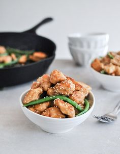 Simple Sesame Chicken Skillet   The only thing with not putting it in the over is that the glaze is somewhat thin before it bakes… I would probably transfer for it to a baking dish so the glaze can thicken… otherwise just try cooking it longer on the stovetop with a lid maybe??