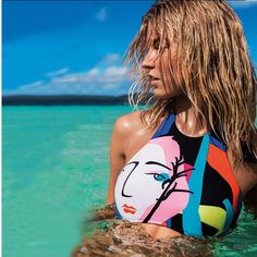 Halter Crop Top Hang High Neck Bikini Cartoon Print Beach Bath Suit Crop Slim Bottom Tankini