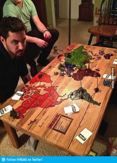 An awesome risk board on a coffee table. Some day if we have a house big enough for a coffee table...