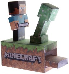 Minecraft Machine - Steve vs Creeper Moving Paper Model Free Download