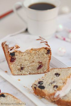 A simple, yet delicious quick bread packed with dried fruit and bursting with coconut flavor.