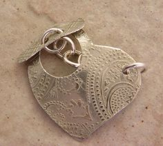 Etched Nickel Toggle Clasp Mehndi Paisley Pattern by MetalMeThis, $17.00