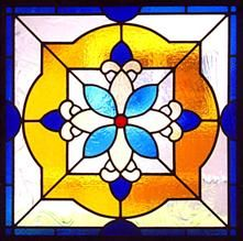 A kitchen window designed in the style of a traditional hand painted Mexican tile, Elmhurst, IL.