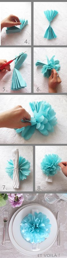 Decora tus platos con una bella flor hecha por ti #Flowers #DIY #Wedding #Decoration
