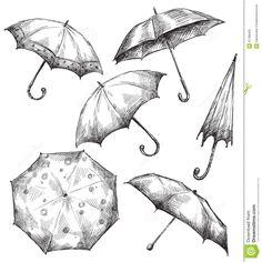 Ensemble De Dessins De Parapluie,