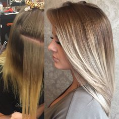 Before-After ash blonde, light blonde, dark roots, platinum blonde, hair color makeover, Balayage highlights