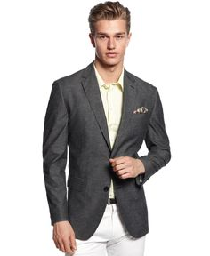 Bar III Sport Coat, Charcoal Textured Linen Slim Fit Jacket from Macys #poachit