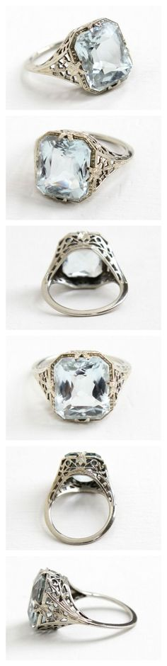 Antique 14k White Gold Aquamarine Ring - Art Deco 1920s Size 5 1/2 Light Icy Blue 4+ Carat Gemstone Filigree Fine Jewelry