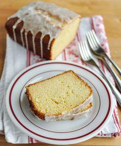 whipped eggnog loaf cake with brandy glaze
