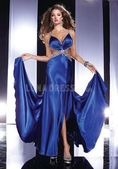 Amazing Straps Elastic Silk Like Satin A line Zipper up Sweep/ Brush Train Prom Gowns