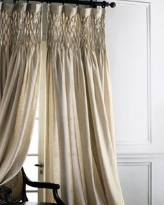 "Each+42""W+x+96""L+Smocked+Linen+Curtain+by+Pom+Pom+at+Home+at+Horchow."