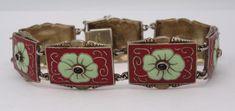 *Antique German Art Nouveau Jugendstil Silver Enamel Bracelet Theodor Fahrner*