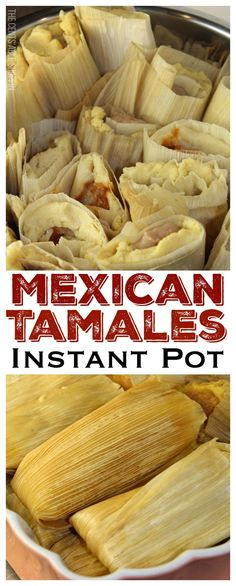 Mexican Tamales ~ The traditional Mexican tamale filled with beans and cheese, some with potatoes, mole and cheese, and steamed in your Instant Pot in 30 minutes! ** CLICK PIN TO LEARN MORE! Instant Pot Pressure Cooker, Pressure Cooker Recipes, Pressure Cooking, Mexican Tamales, Mexican Shrimp, Mexican Chicken, Mexican Sopes, Ceviche Mexican, Mexican Slaw