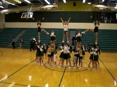 cheer pyramid -possible use flat back to heel stretch. Cool Cheer Stunts, Cheer Jumps, Cheer Pyramids, Cheerleading Pyramids, High School Cheerleading, Football Cheerleading, Cheerleading Videos, Cheerleading Stunting, Cheer Routines