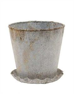 Small Galvanized Planter with Scalloped Saucer