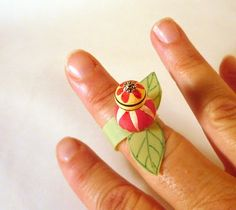 Cutest Little Leafy Rings, upcycled from throw-away plastic.