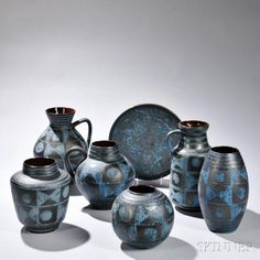 Seven Pieces of Carsten Tonnieshof Art Pottery Glazed ceramic West Germany, 1945-84 Six vessels and a charger all decorated