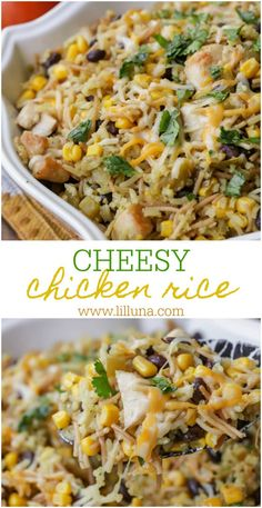 Cheesy Chicken and Rice a DELICIOUS combination of chicken rice corn black beans green chiles and cheese! This is a dinner recipe is full of flavor and is so easy to make. Cheesy Rice, Cheesy Chicken, Chicken Broccoli, Chicken Rice Casserole, Casserole Recipes, Hamburger Casserole, Canned Chicken, How To Cook Chicken, Grilled Chicken