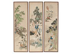 Asian Art from China, Japan and Southeast Asia - AuctionataFine Tryptych, Water Colour on Silk, China, Qing Dynasty Chinese Furniture, Qing Dynasty, Chinese Art, Asian Art, Southeast Asia, Porcelain, Auction, Japan, Watercolor
