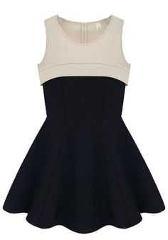 Champagne Black Round Neck Sleeveless High Waist Ruffles Dress - Oh. My. Goodness..... <3