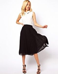 ASOS Midi Skirt with Pleats. Great skirt for work- comes in 7 colors