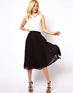 ASOS Midi Skirt with Pleats $46.55