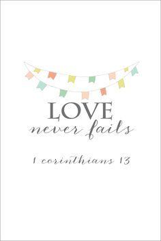 Love Never Fails Free Printable | Print and frame for DIY wall art! | onsuttonplace.com