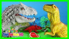 Los Dinosaurios para niños Indominus Rex v/s Allosaurus - Juguetes de Dinosaurios ToysForKidsHD